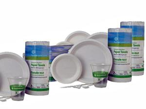 Sustainable Earth Products by Staples, plates, cups, forks, knives and more!
