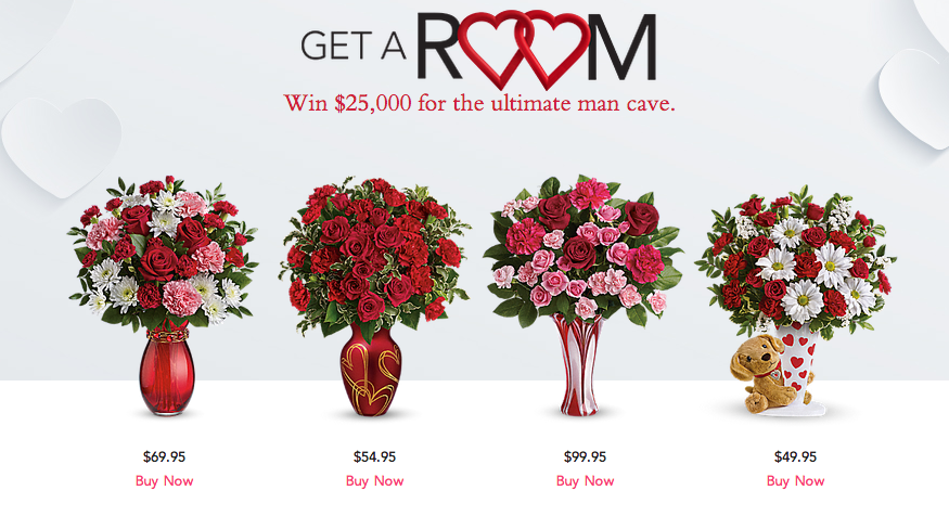 """Love Blooms with Teleflora's """"Get a Room"""" Valentine's Day Sweepstakes! #UltimateManCave"""