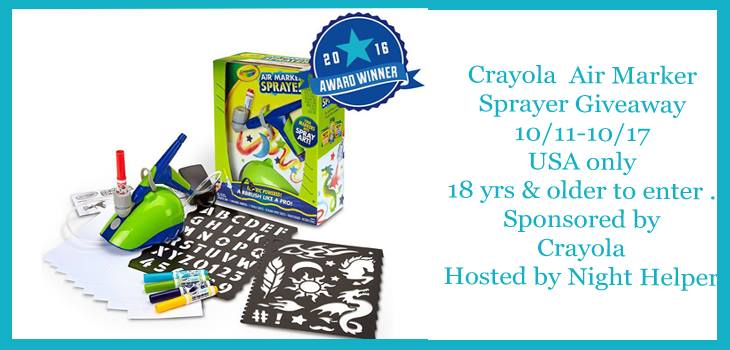 Crayola Air Marker Sprayer Giveaway Night Helper