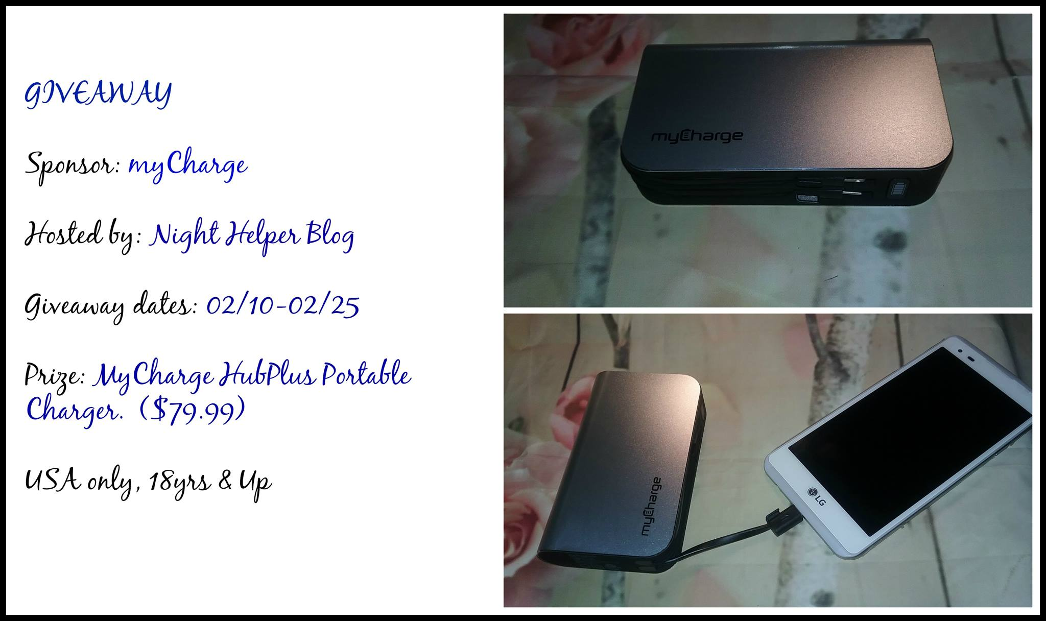 """Welcome to """"the myCharge HubPlus Portable Charger Giveaway""""!"""