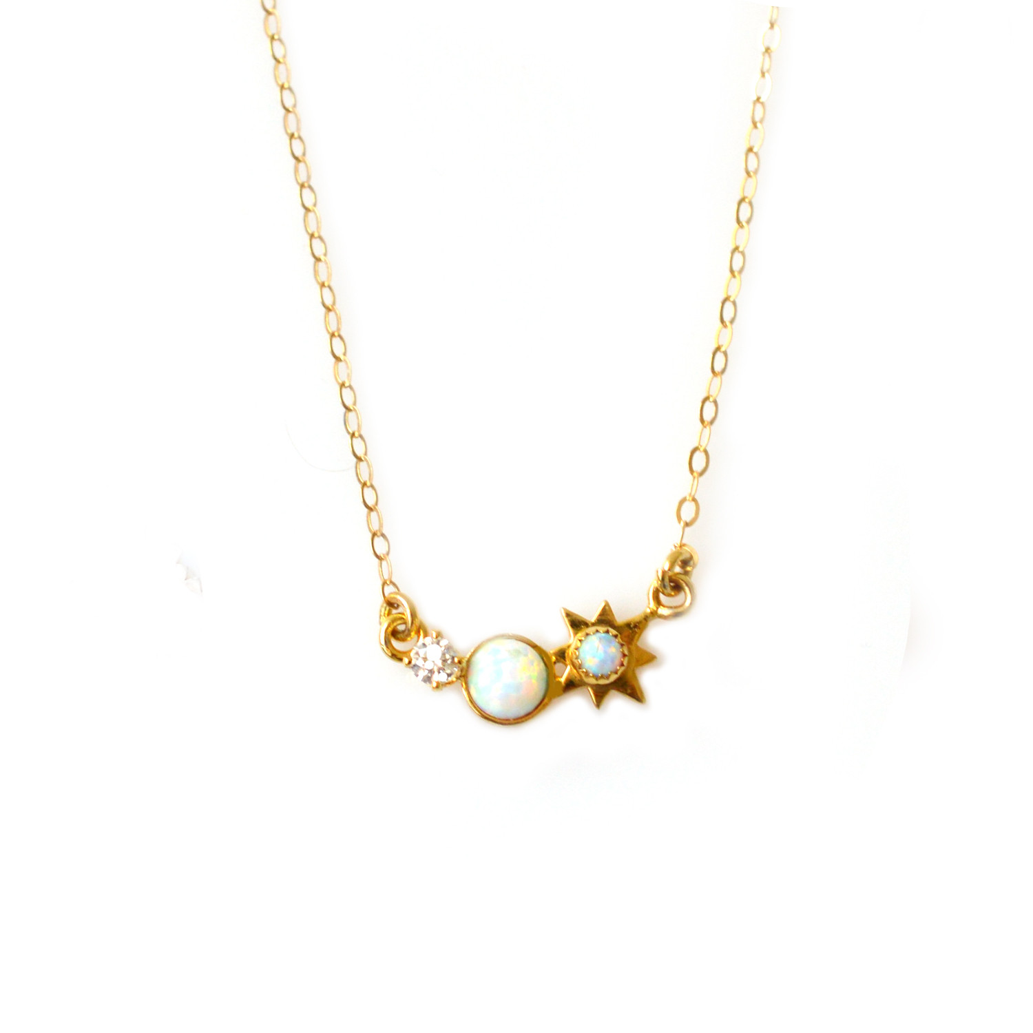 """2017 Mother's Day Guide Featuring LA KAISER Vermeil Collection""""3 Wishes"""" Opal and Diamond Pendant."""