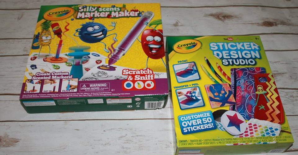 Crayolas hottest holiday toys sticker design studio and silly scents marker crayola
