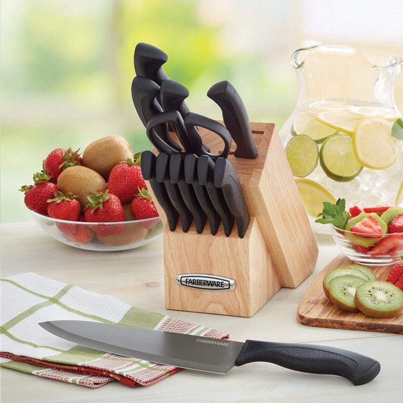 Farberware Knife Armor Dishwasher Safe Knives and Knife Block Set