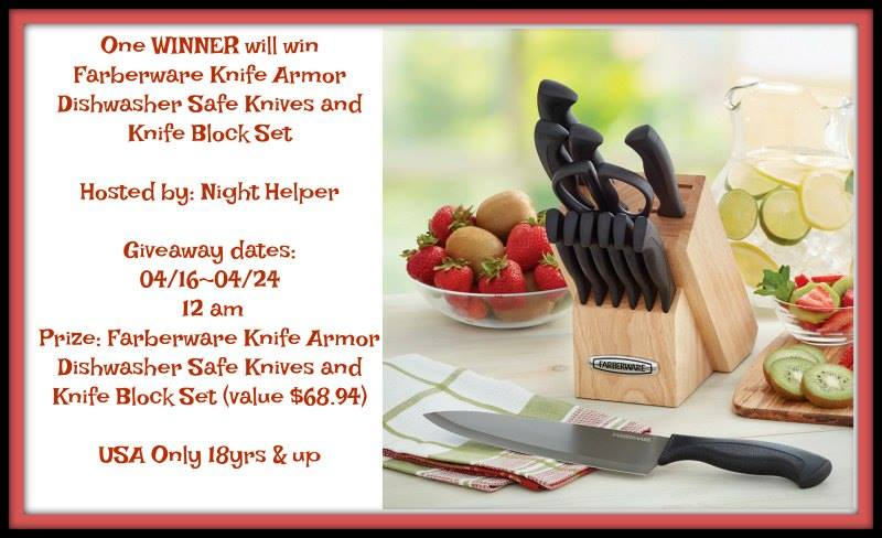 Win a Farberware Knife Armor Dishwasher Safe Knives and Knife Block Set