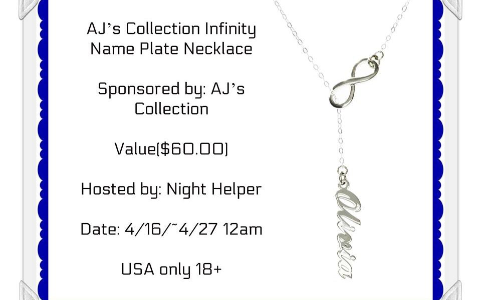 Win A Infinity Name Plate from AJ's Collection