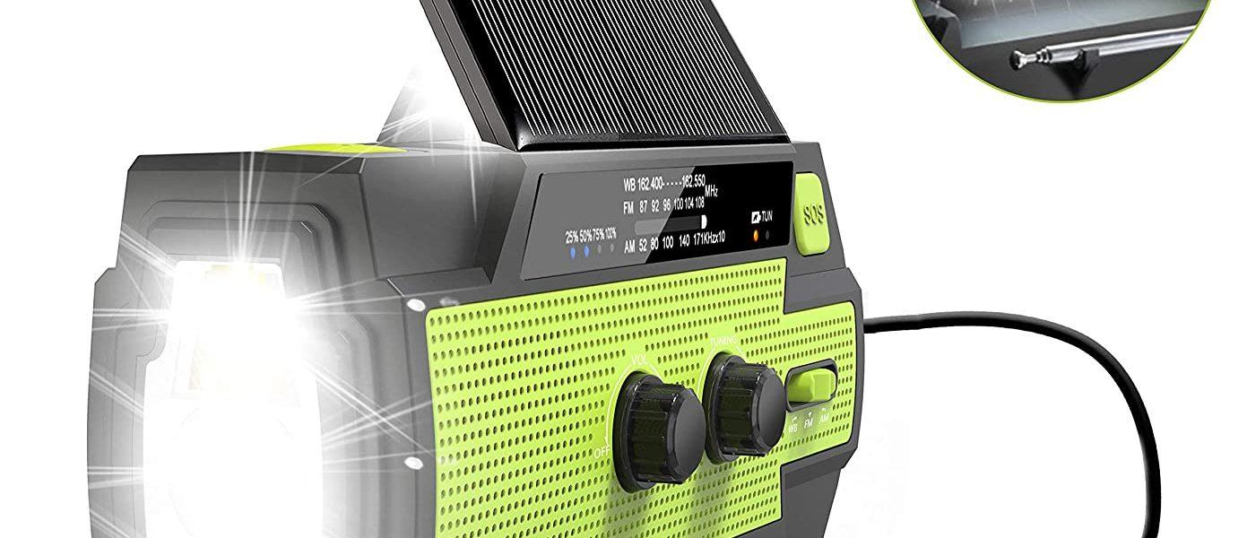 Emergency Crank Radio, 4000mAh-Solar Hand Crank Portable AM/FM/NOAA Weather Radio #Ad