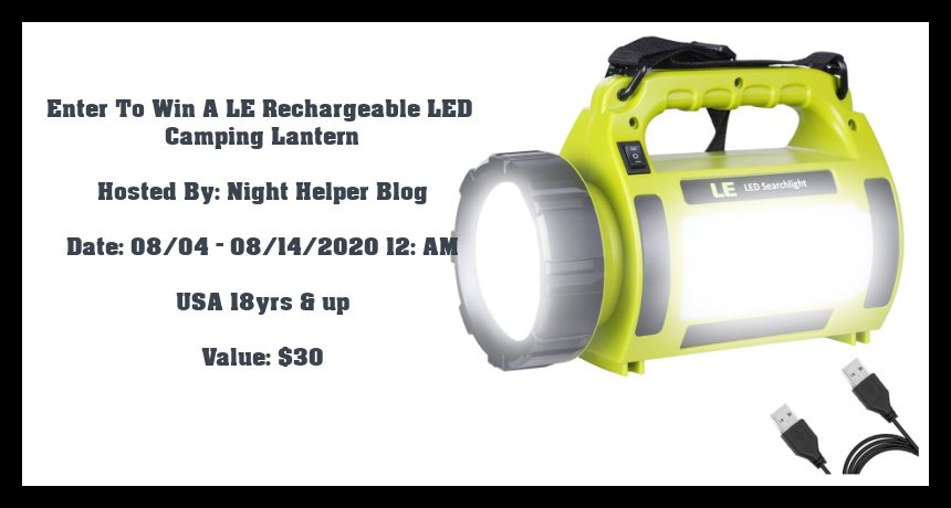 Enter To Win A LE Rechargeable LED Camping Lantern