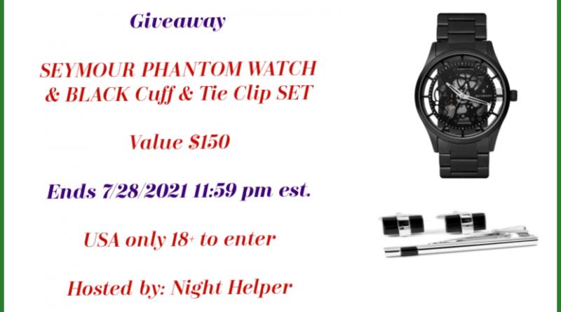 SEYMOUR PHANTOM WATCH & BLACK Cuff & Tie Clip SET {Giveaway}