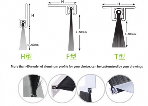 Commonly used door side aluminum strip shape: