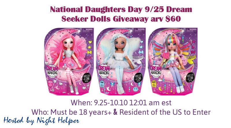 National Daughters Day 9/25 Dream Seeker Dolls Giveaway arv $60